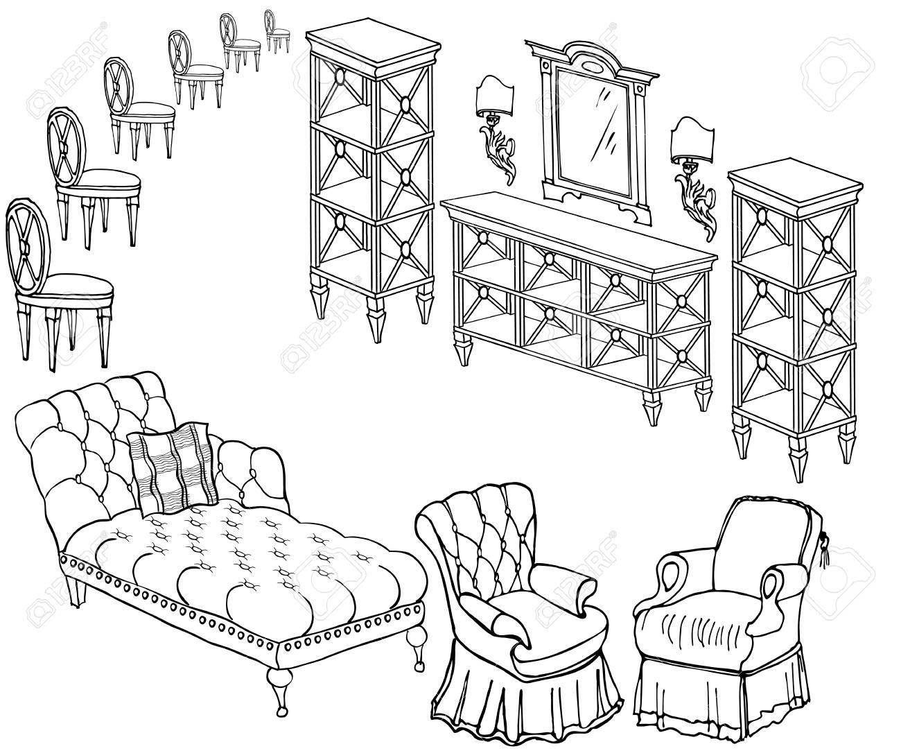 Doodle, Boceto De Un Conjunto De Muebles, Negro En Fondo Blanco ...