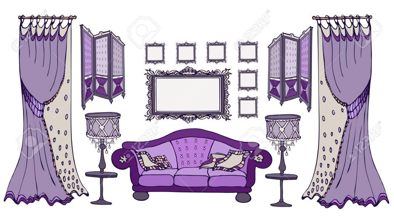 Furniture Set Sketch Vector Classic Style Dark Purple Deep Color  # Muebles Farbton
