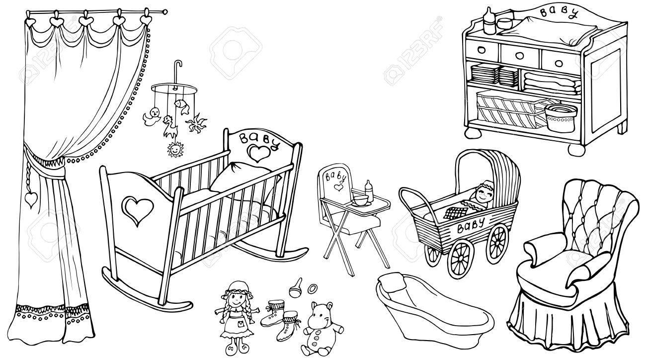 Habitación Bonita Para El Contorno Niño Conjunto De Bebé Negro Sobre ...