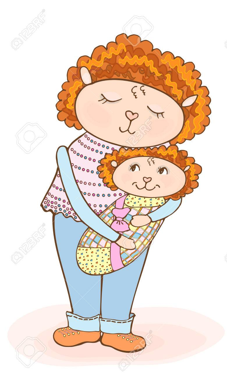 Drawing Of A Cute Cartoon Mom Lamb With Baby In Diaper Vector Tender