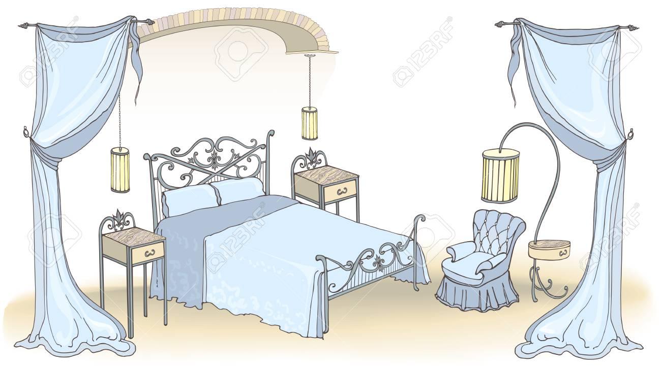Interieur De Vecteur Pour Une Chambre A Coucher Avec Des Meubles En