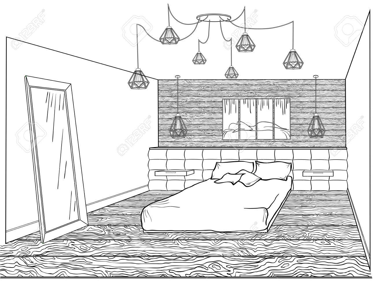 Interior Bedroom Loft With A Bed Soft Quilted, Wooden Wall And Floor, A Lamp