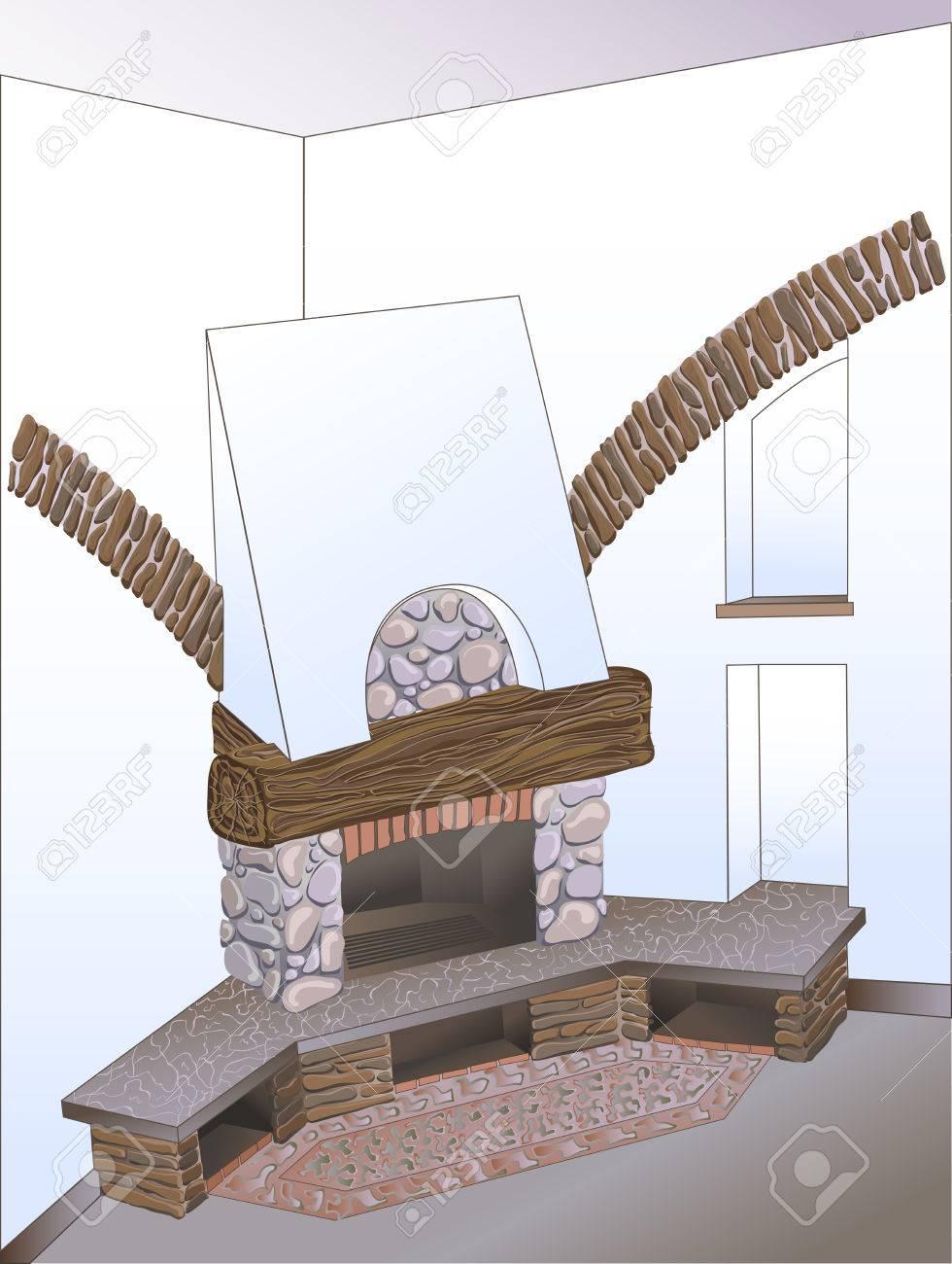 Vektor Skizze Innenausstattung Ecke Des Landlichen Provinziellen