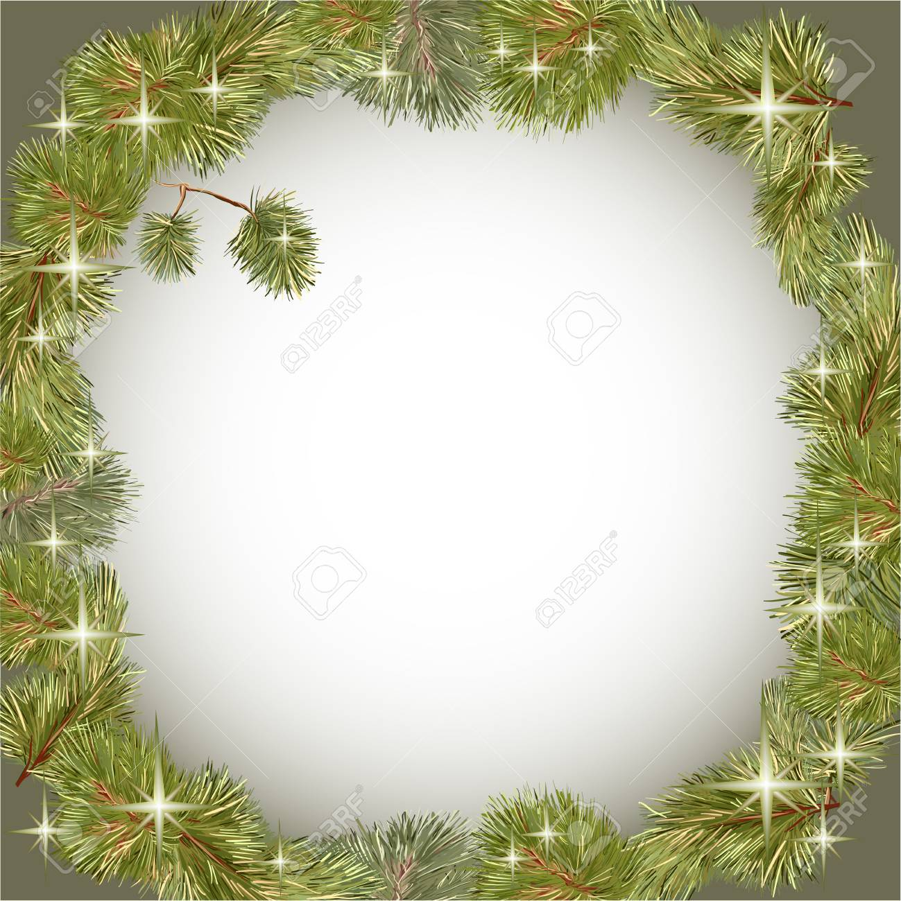 Romantic Frame Wreath Of Christmas Tree Branch With Shining