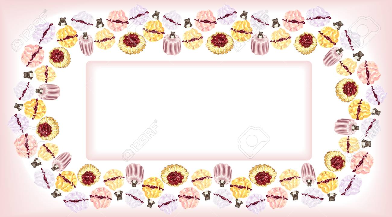 Card With A Pattern Framing Of Cakes Meringues And Pies And - Baeras-con-pies