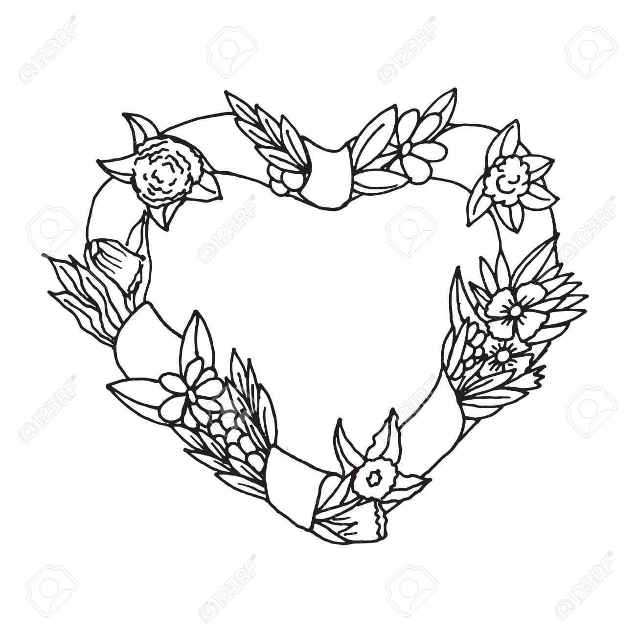 14 De Febrero Feliz Tarjeta Del Día De San Valentín Ilustraciones Dibujadas Mano Del Bosquejo Perfecto Para Colorear Libros Y Invitaciones De