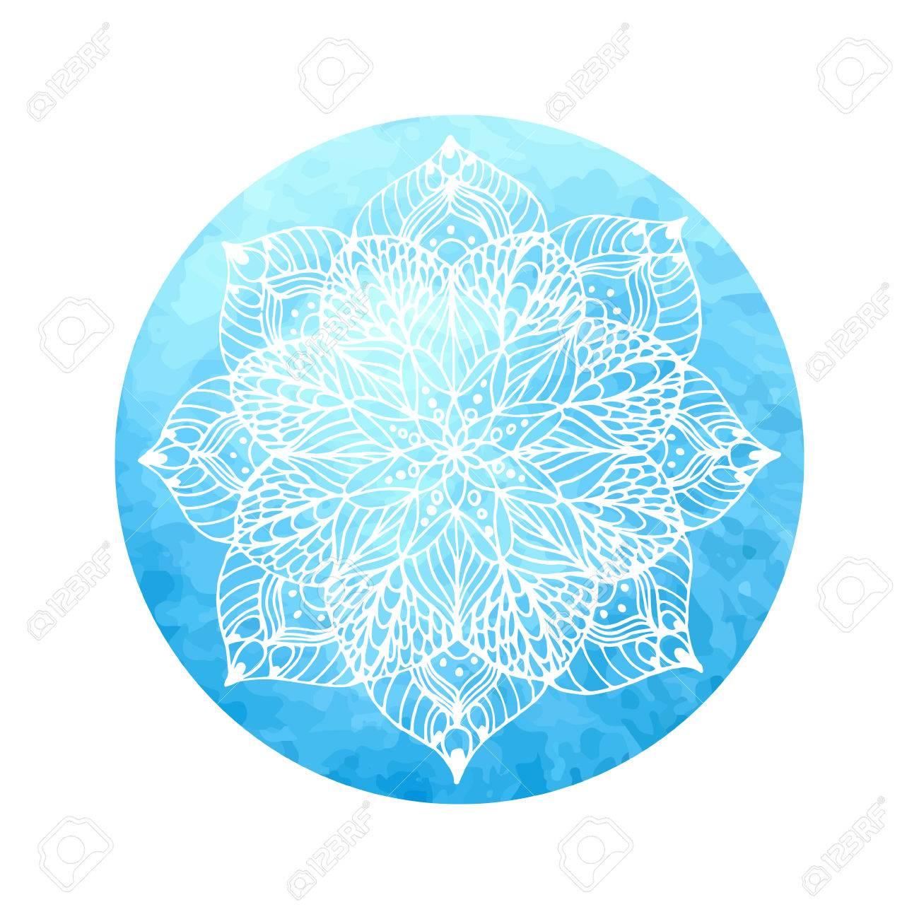 Fleur Mandala Sur Le Cercle Aquarelle Peinture A La Main Clip Art