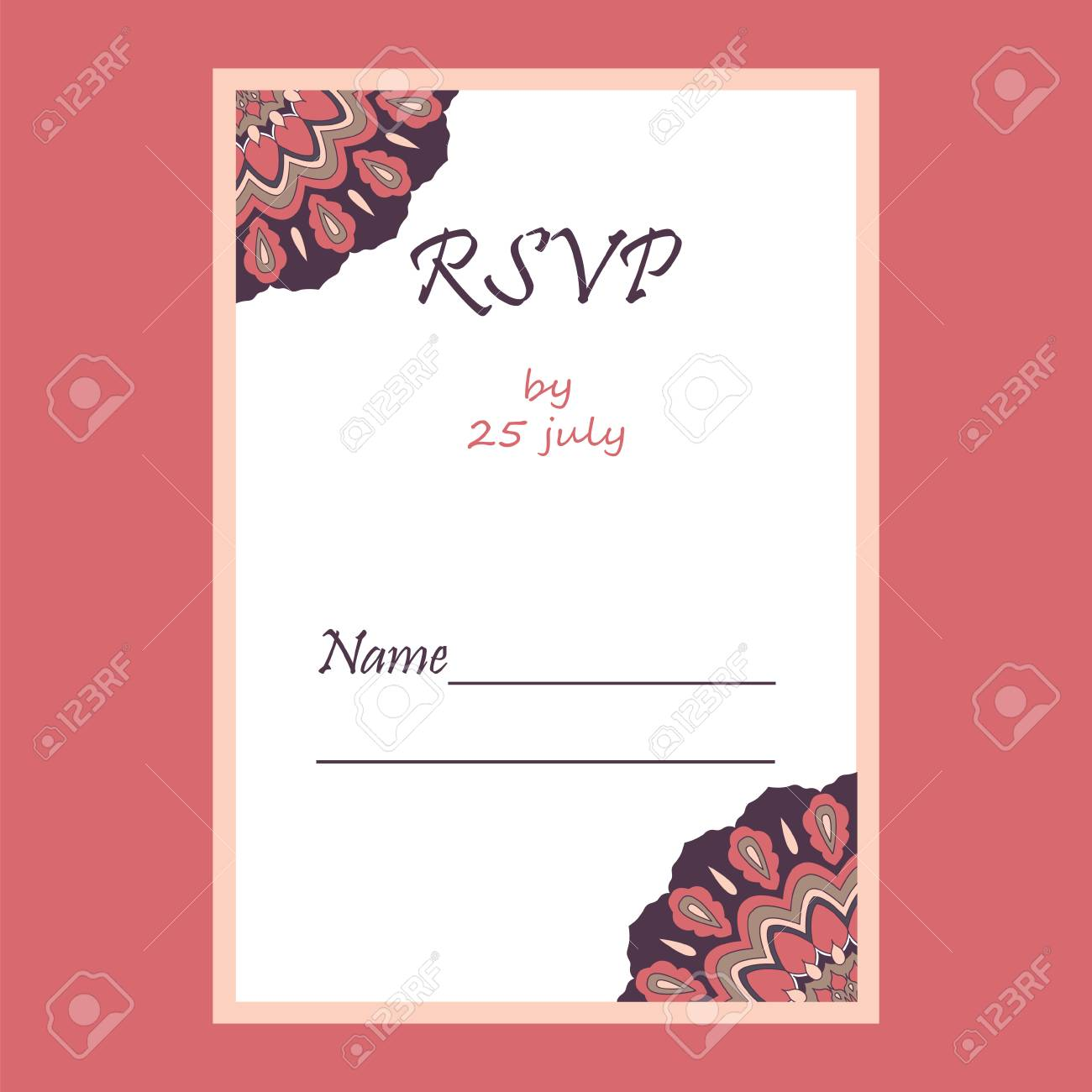 Wedding Invitation Card Suite With Mandala. Royalty Free Cliparts ...