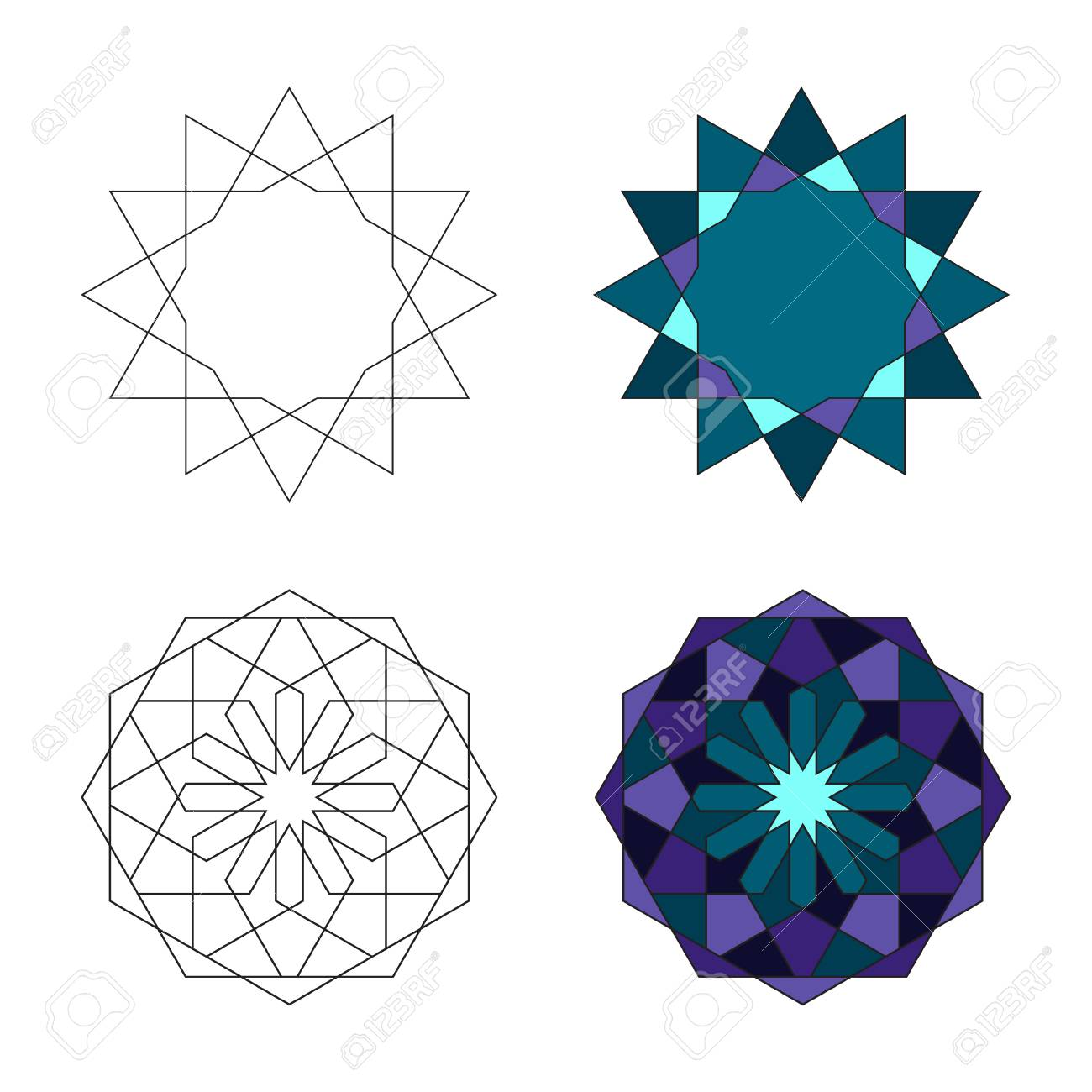 sacred geometry pattern in arabic pattern background ロイヤリティ