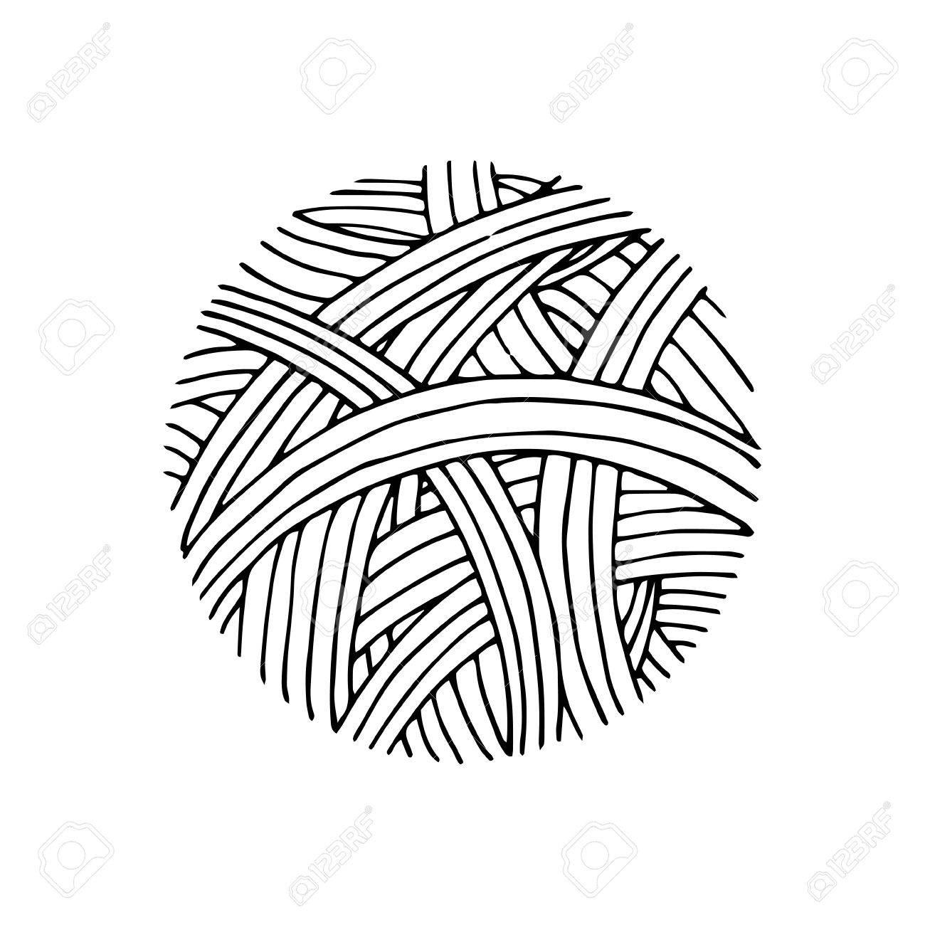 Patrón De Bola De Hilo A Mano Estilo Dibujado. Ilustración ...