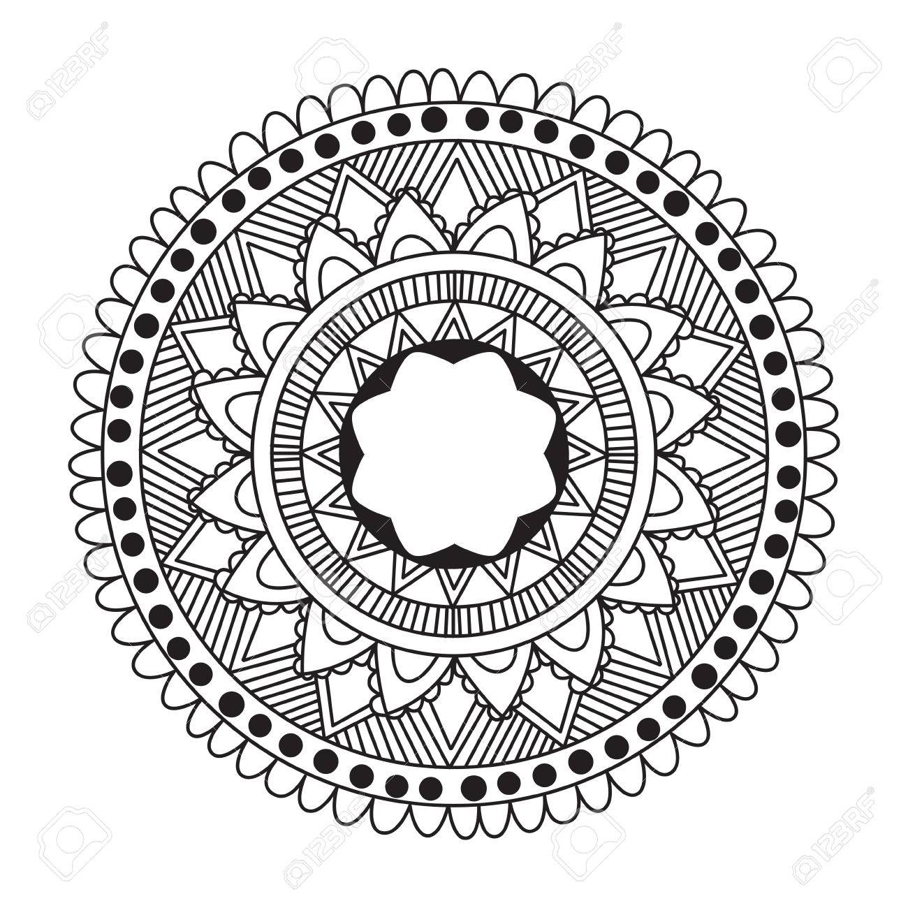 A Zentangle Mandala For Coloring Book And Adults Made By Trace From Personal Hand Drawn