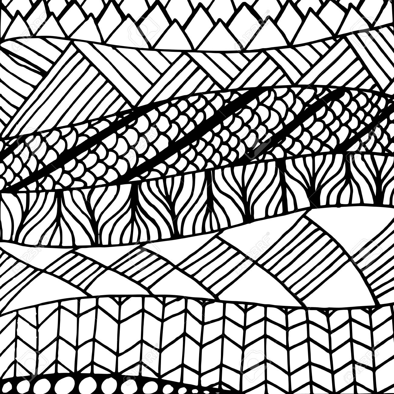 Zentangle doodle pattern for coloring book and adults  Made by