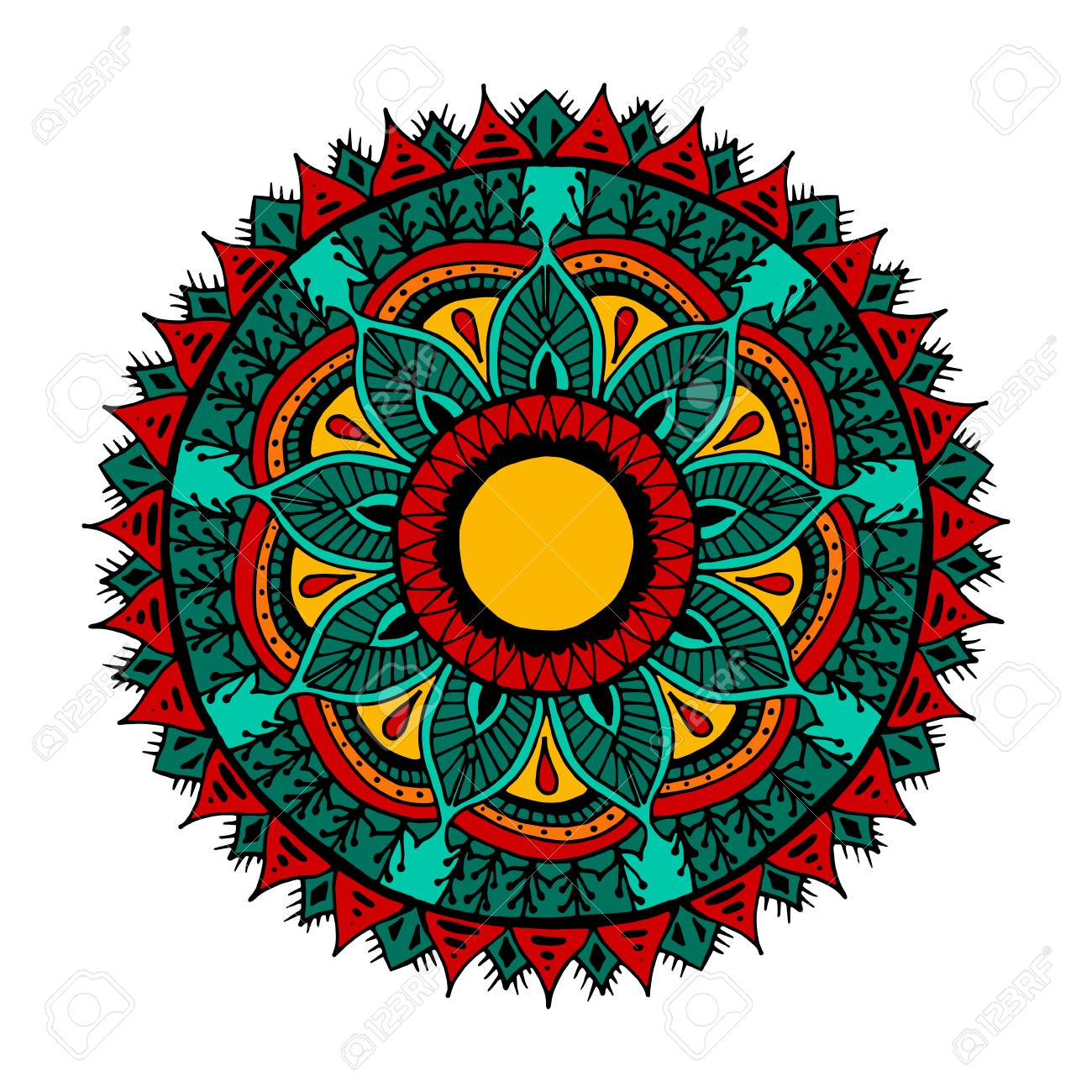 Flower Mandala For Cards, Prints, Textile And Coloring Books ...