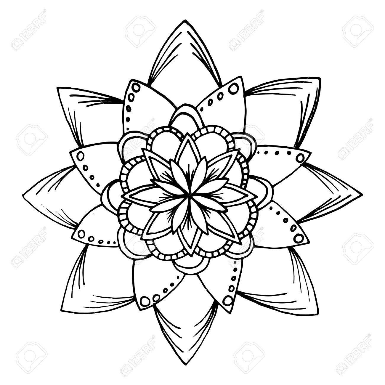 Hand Drawn Flower Mandala For Cards Invitations And Coloring Book Boho Style Stock Vector
