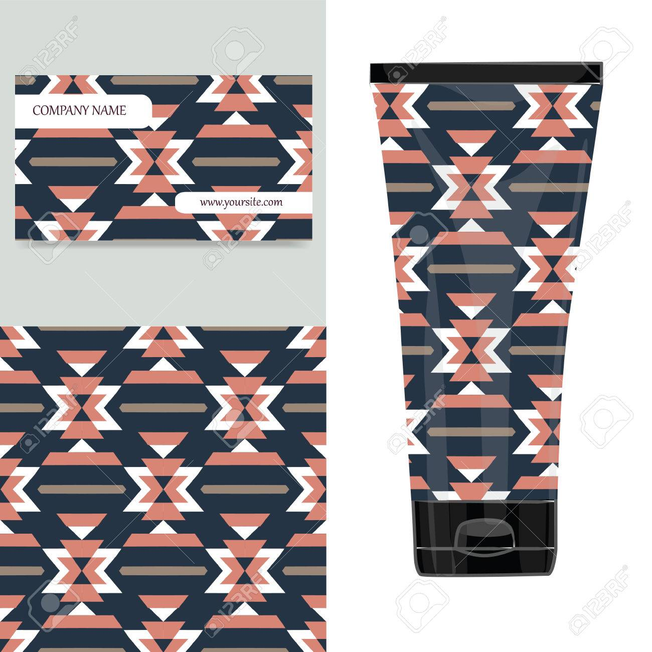 Cream tube pattern with aztec tribal pattern  illustration