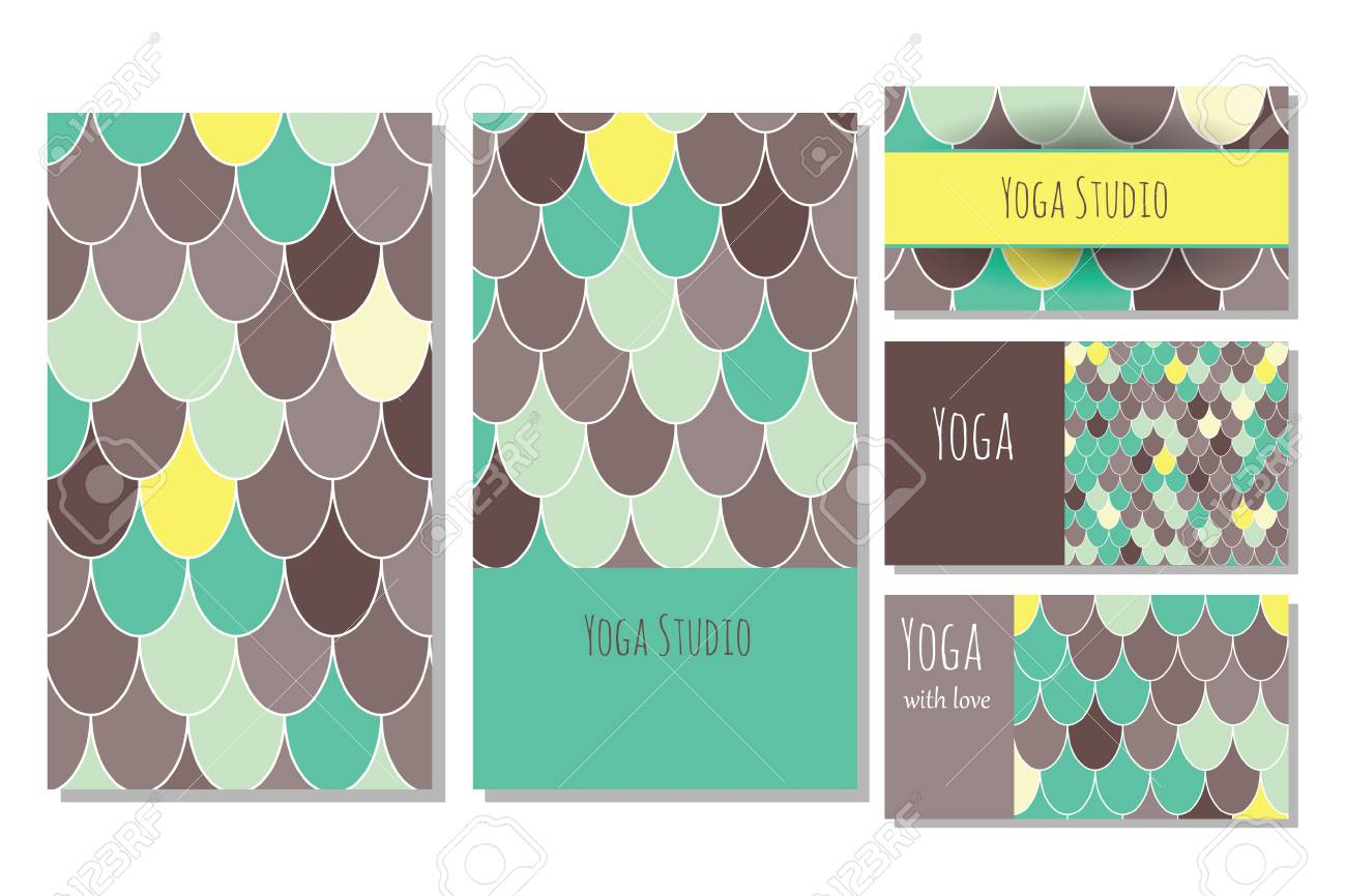 Cards Template For Yoga Studio. Editable Pattern With Front And Back Side  Visit Cards And  Editable Leaf Template