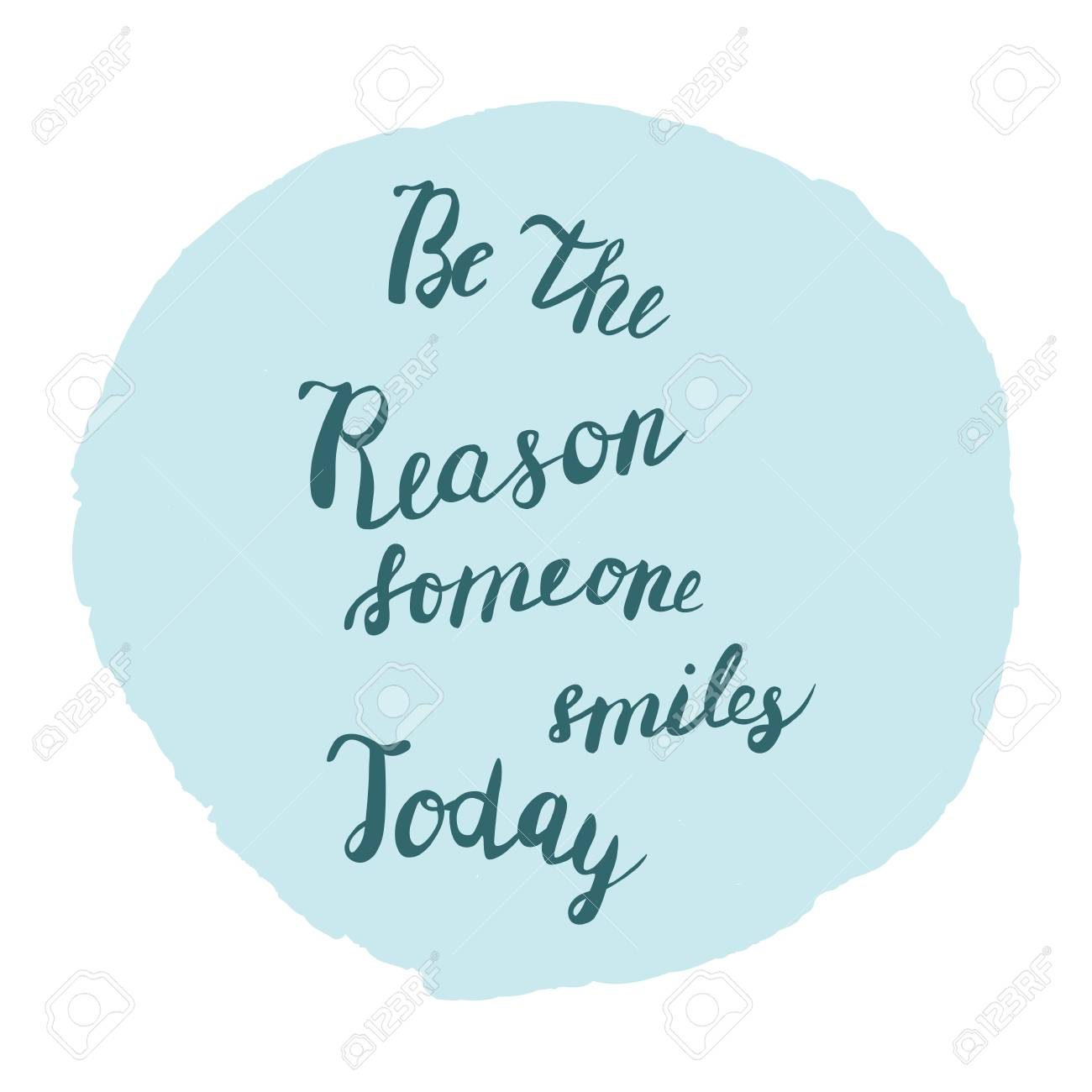 Be The Reason Someone Smiles Today Quote Poster On Blue Frame
