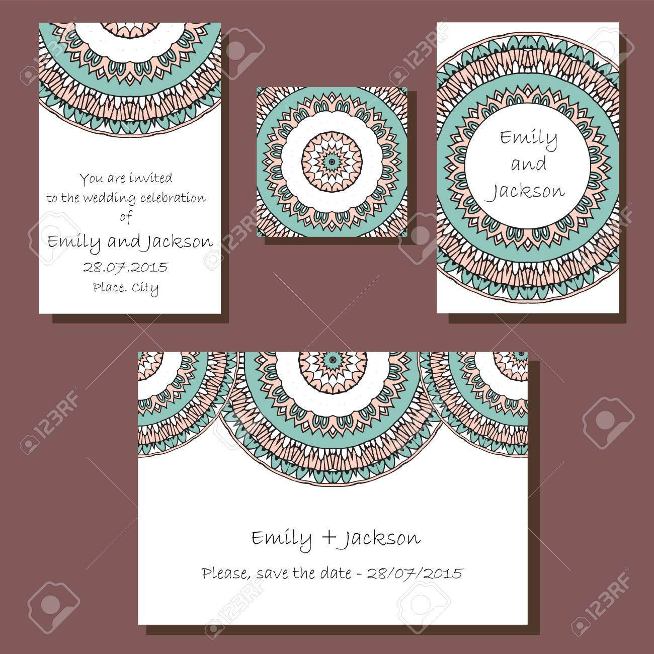 Wedding invitation card set with mandala stock photo picture and stock photo wedding invitation card set with mandala stopboris Choice Image