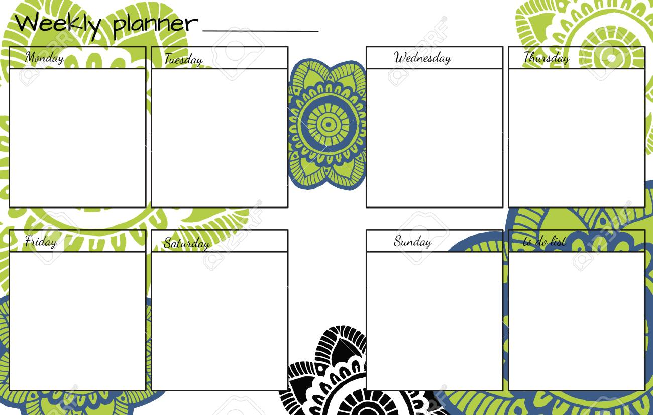 weekly planner with hand drawn flower mandala perfect for print