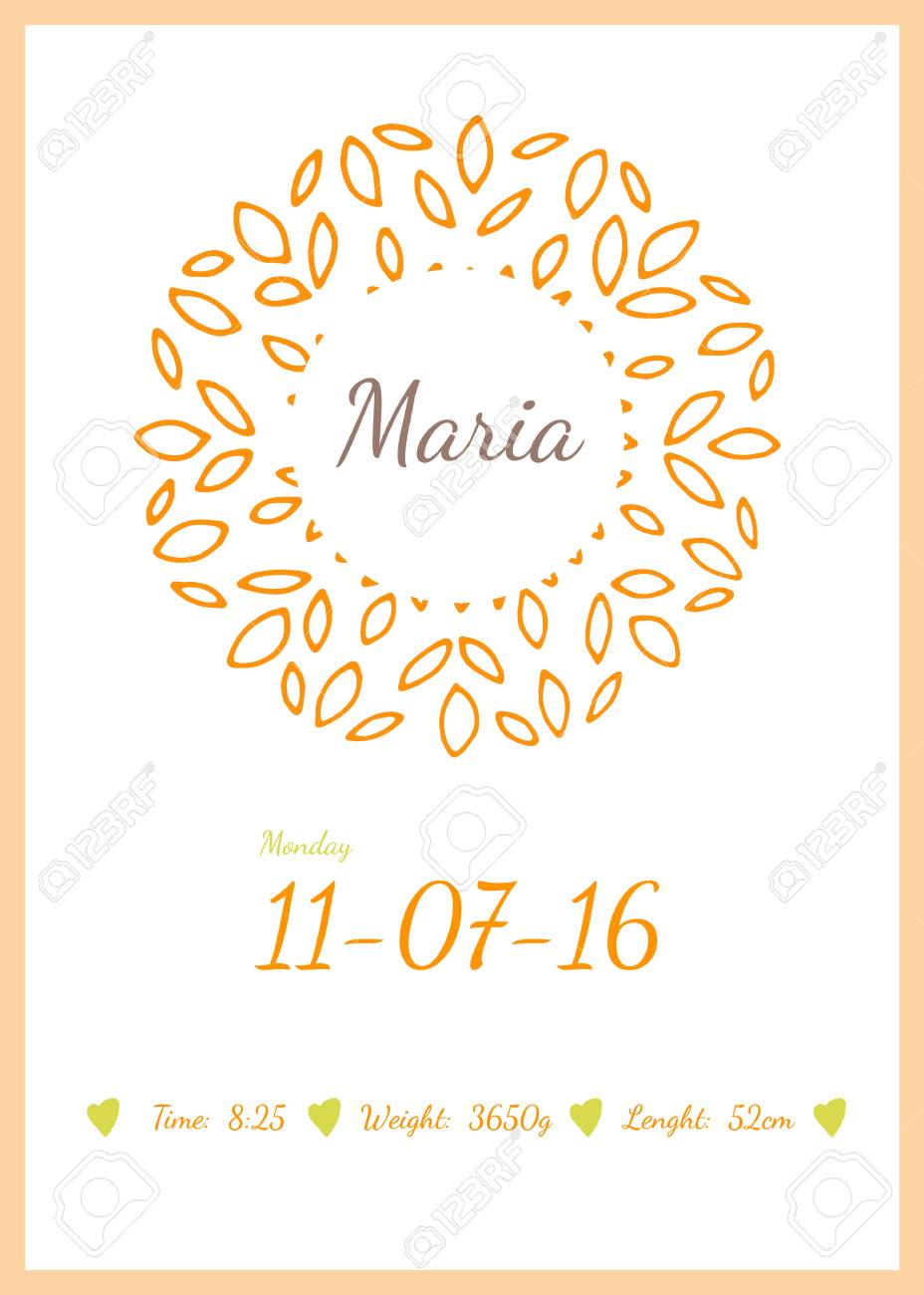 Baby happy birthday card with data name date and weight children baby happy birthday card with data name date and weight children for print m4hsunfo