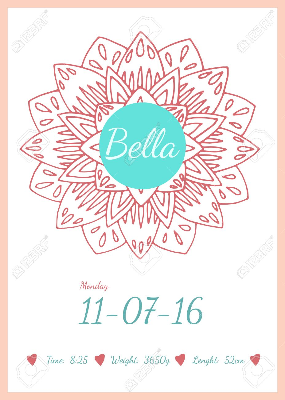 Baby Happy Birthday Card With Data Name Date And Weight Children