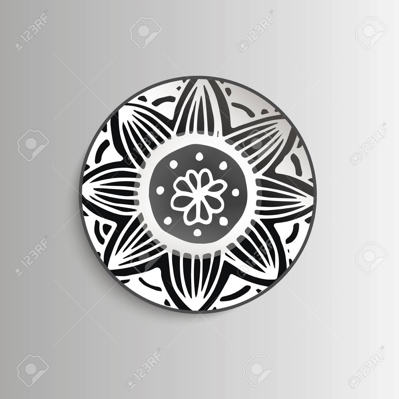 Teller Mit Blumen Mandala Vorlage Für Drucke Stoff Und Tattoo