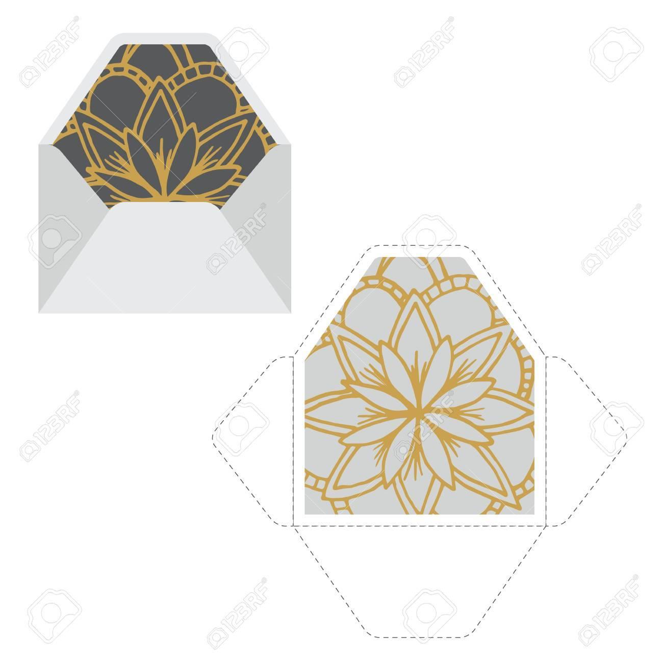 Plantilla De Sobres Con Patrón De Mandala. Perfecto Para Imprimir E ...