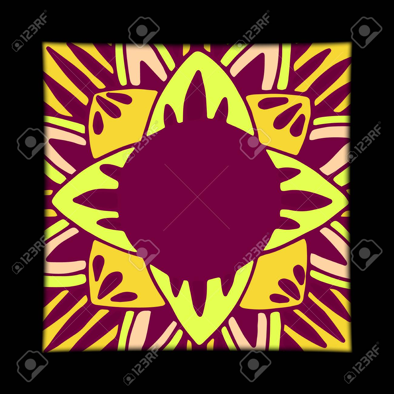 Flower mandala tiles in hand drawn style for prints, fabric and