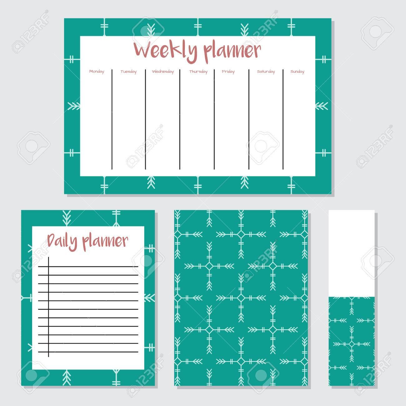 Planificateur Hebdomadaire En Style Scandinave Avec Motif De Glace Parfait Pour Imprimer Modèle Faire Une Liste Vector Illustration Isolée