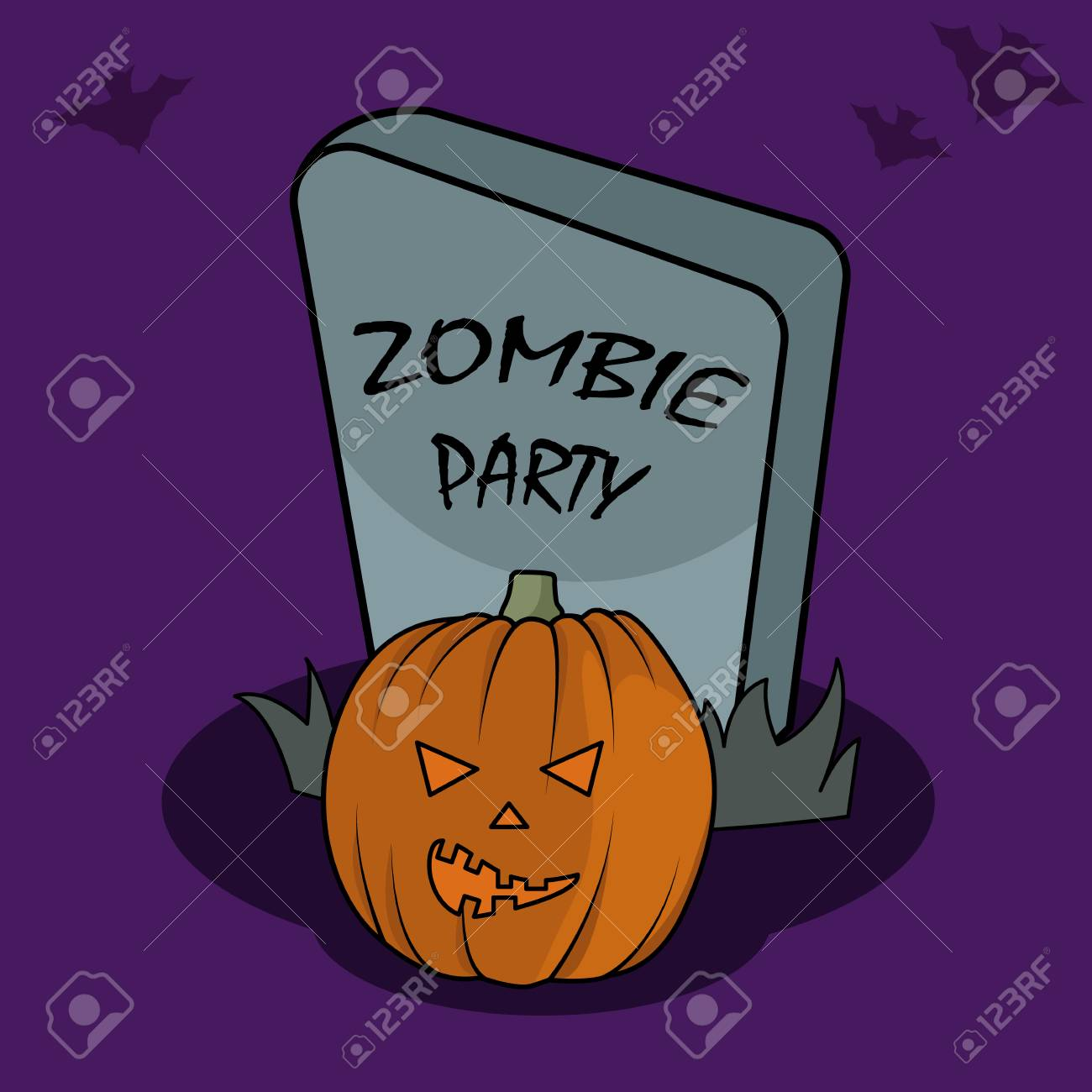 halloween poster in cartoon style for web print and creative