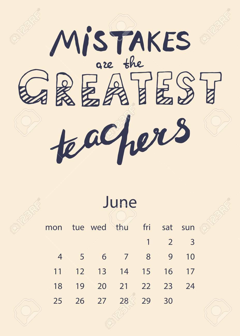 Calendario 2018 Con Letras Motivacionales Para Impresión Decoración Y Diseño Creativo Ilustración Vectorial Los Errores Son Los Mejores Maestros