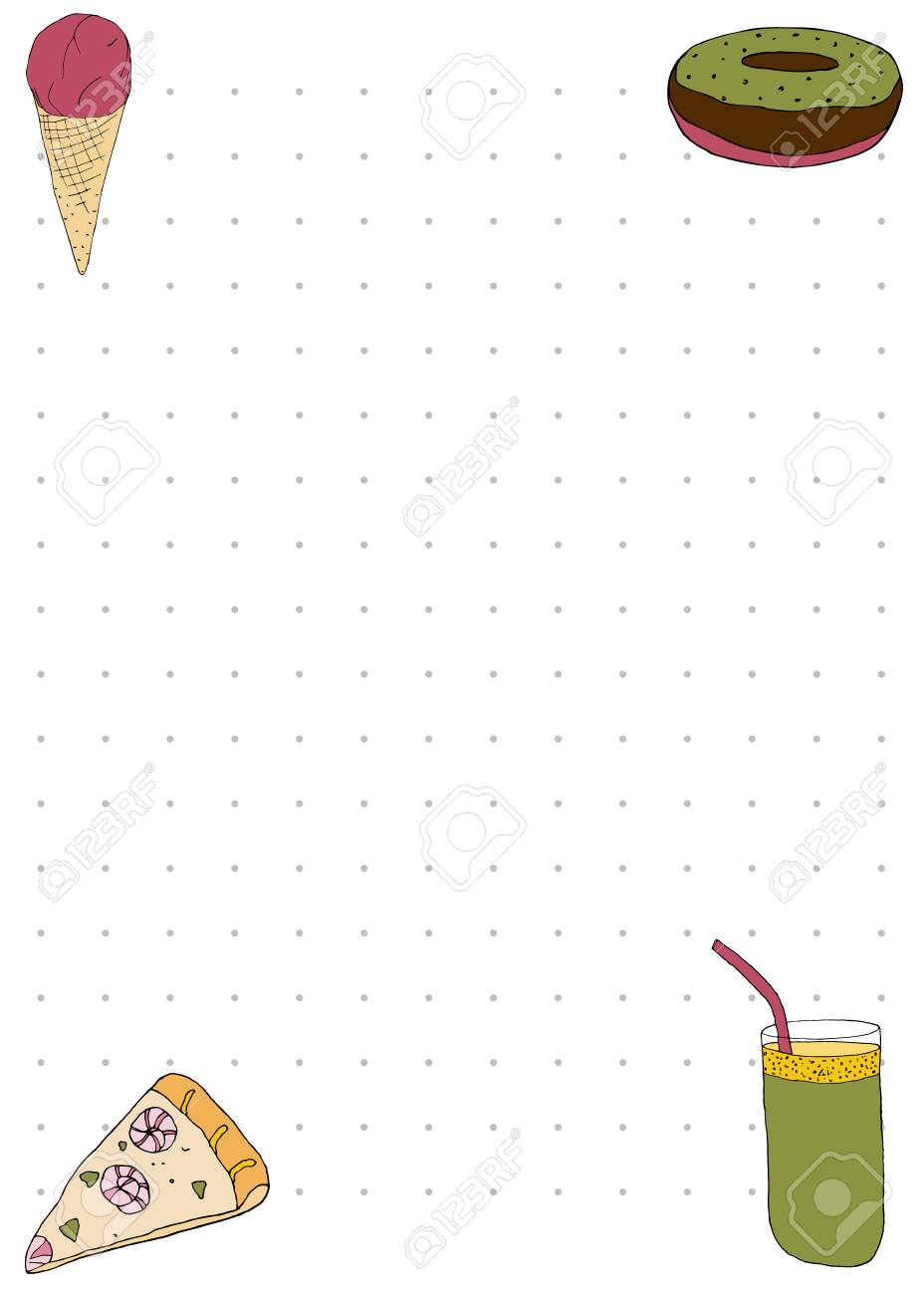 Paper Note Book Template With Pizza Smoothie Ice Cream And