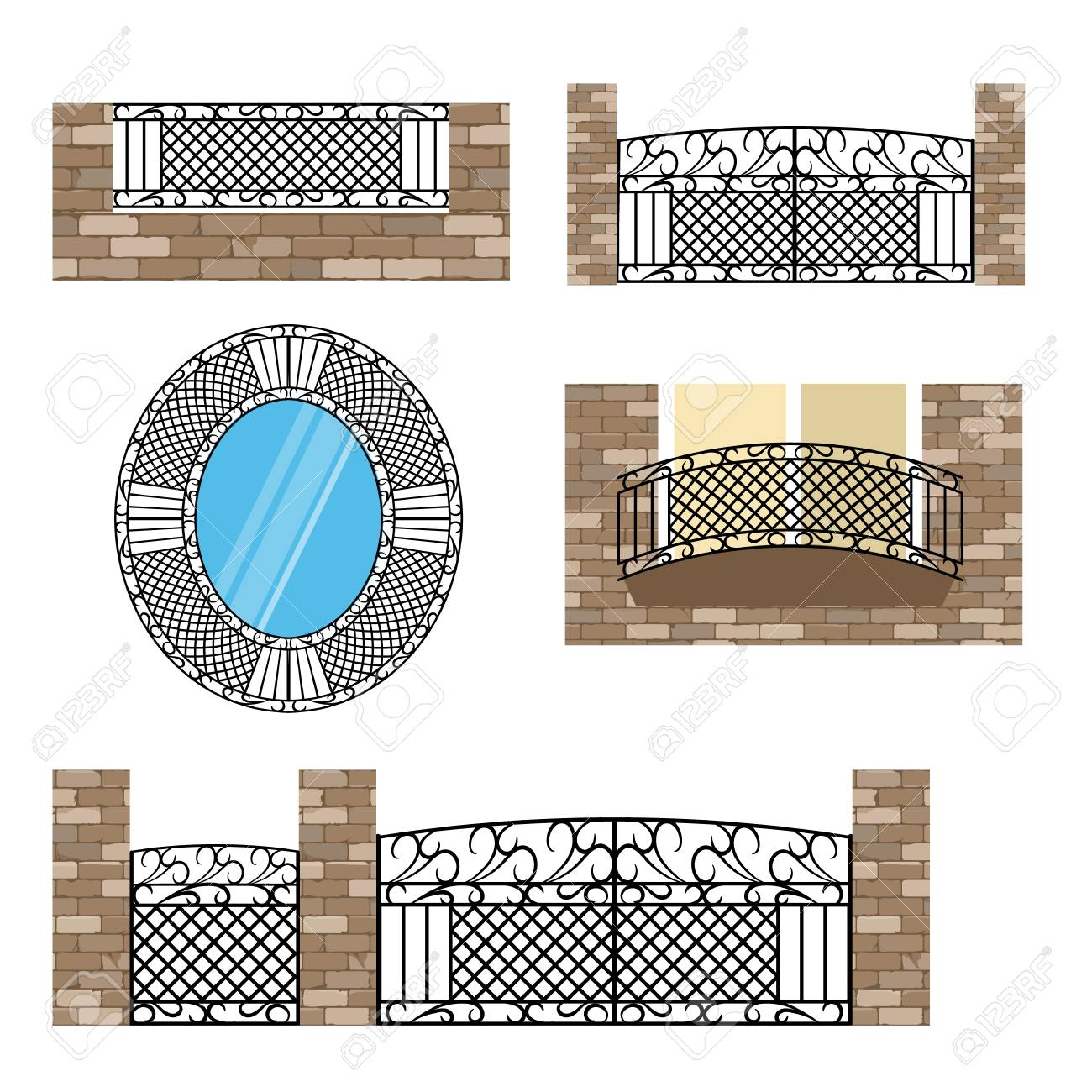 Forged metal elements with ornament  For steel fence, gates and