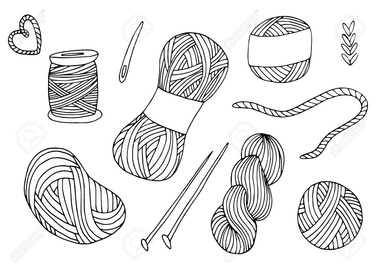 Knitting yarn balls set in hand drawn style. - 115364900