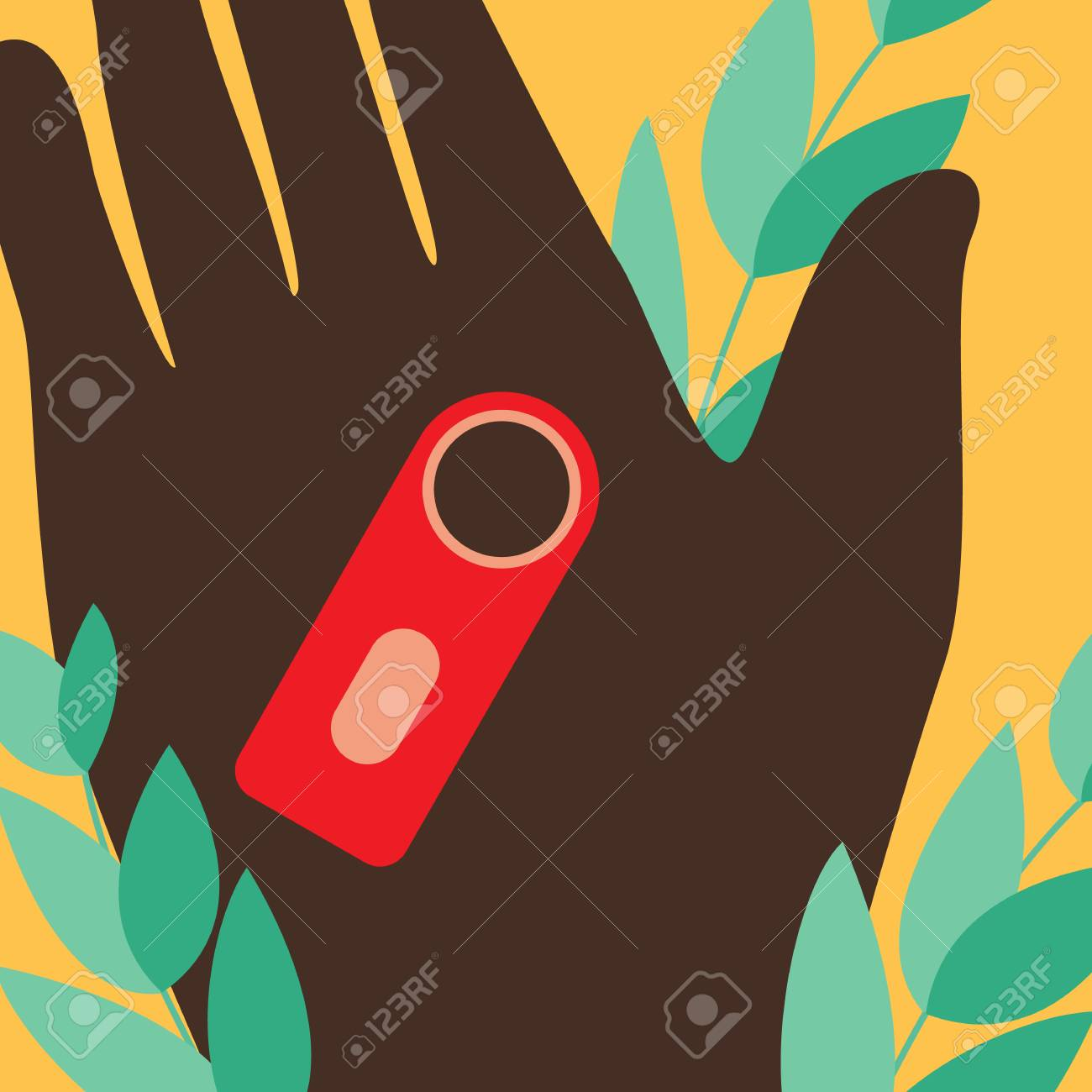 Woman hand with lost key finder - banner in flat style