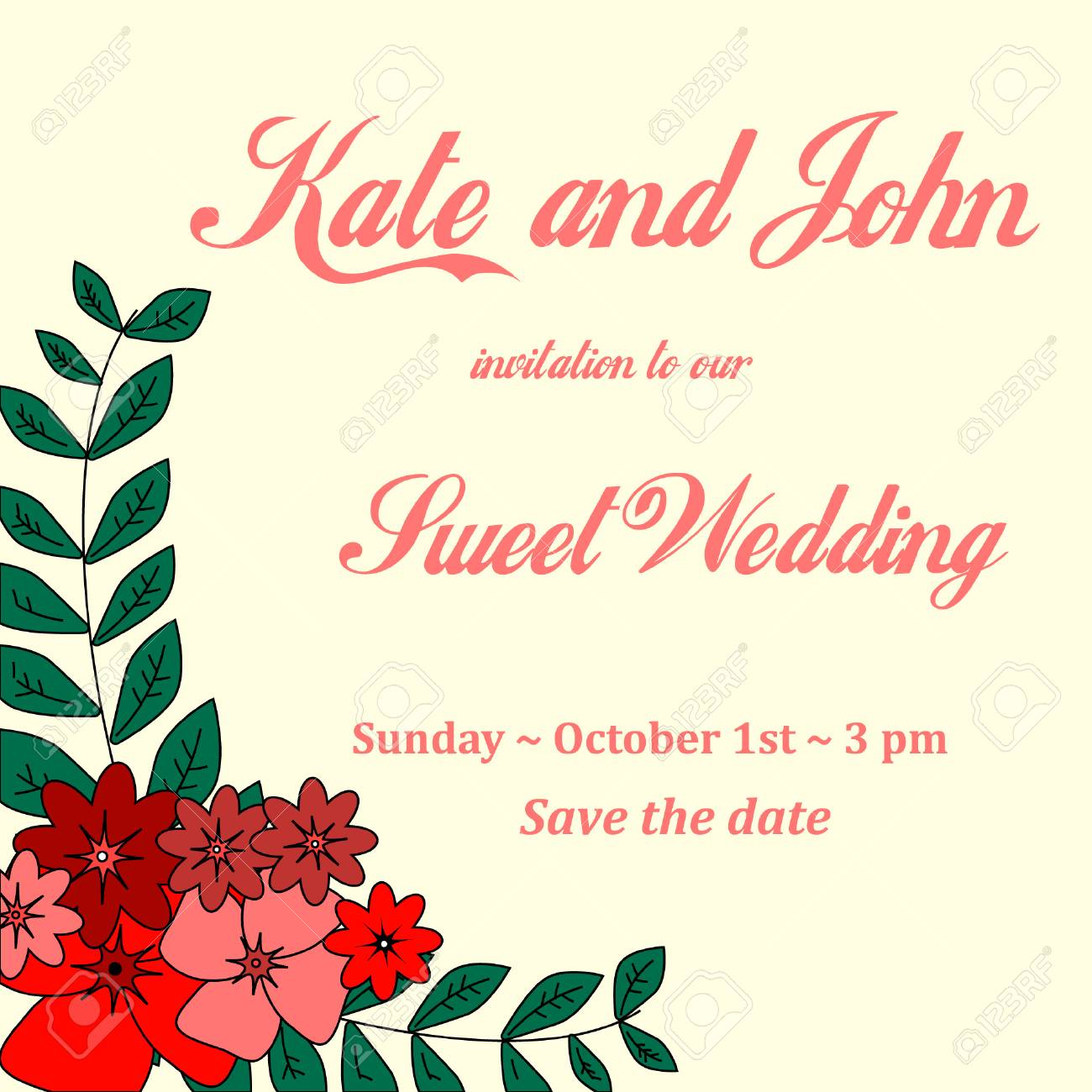Invitation Card For Wedding Birthday With Flowers Royalty Free