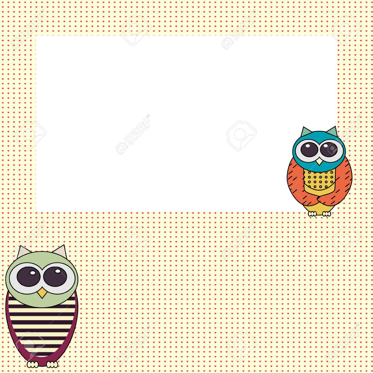 Owl invitation card template, colorful background, greeting card