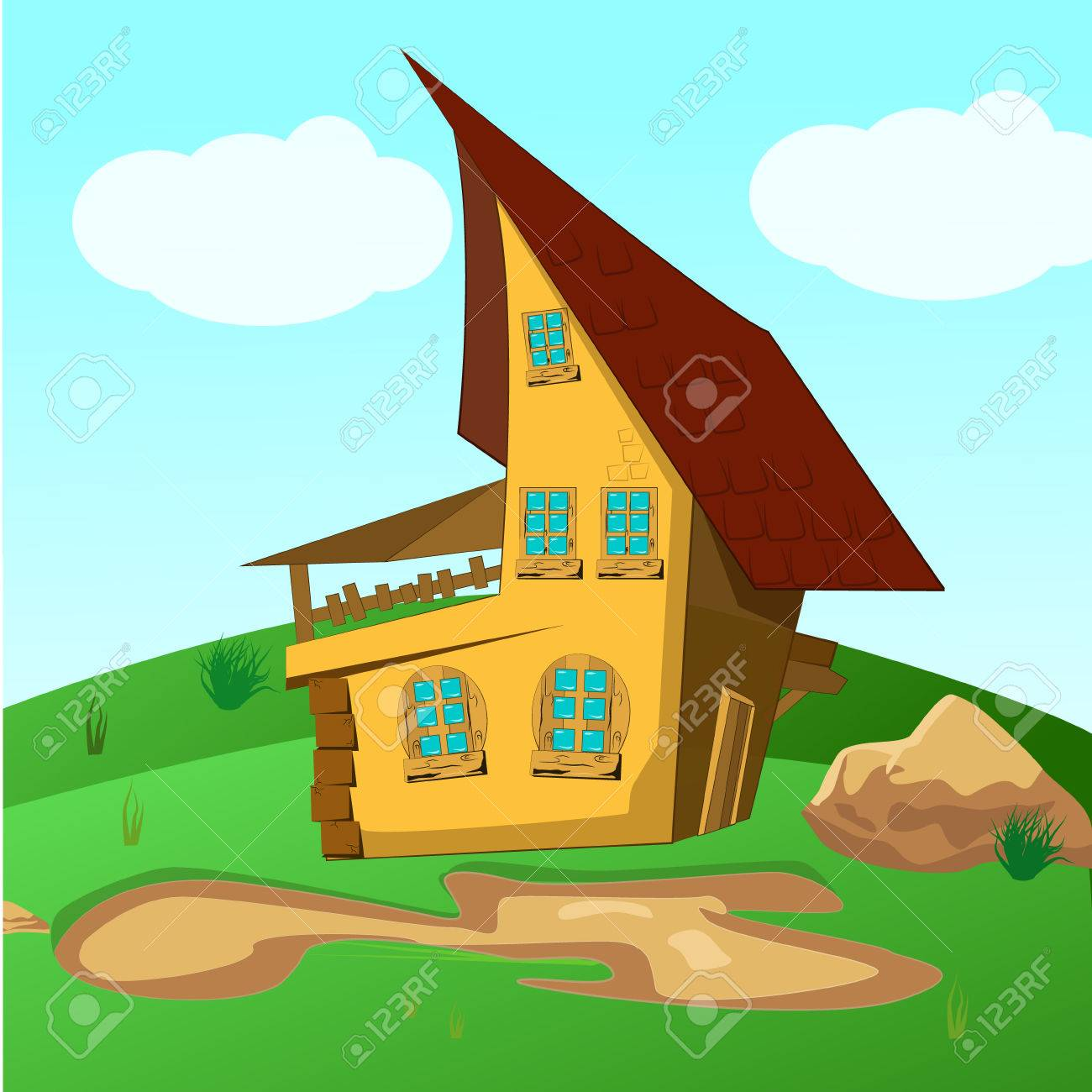 House inside green fields illustration of a cartoon house on a top of a hill in