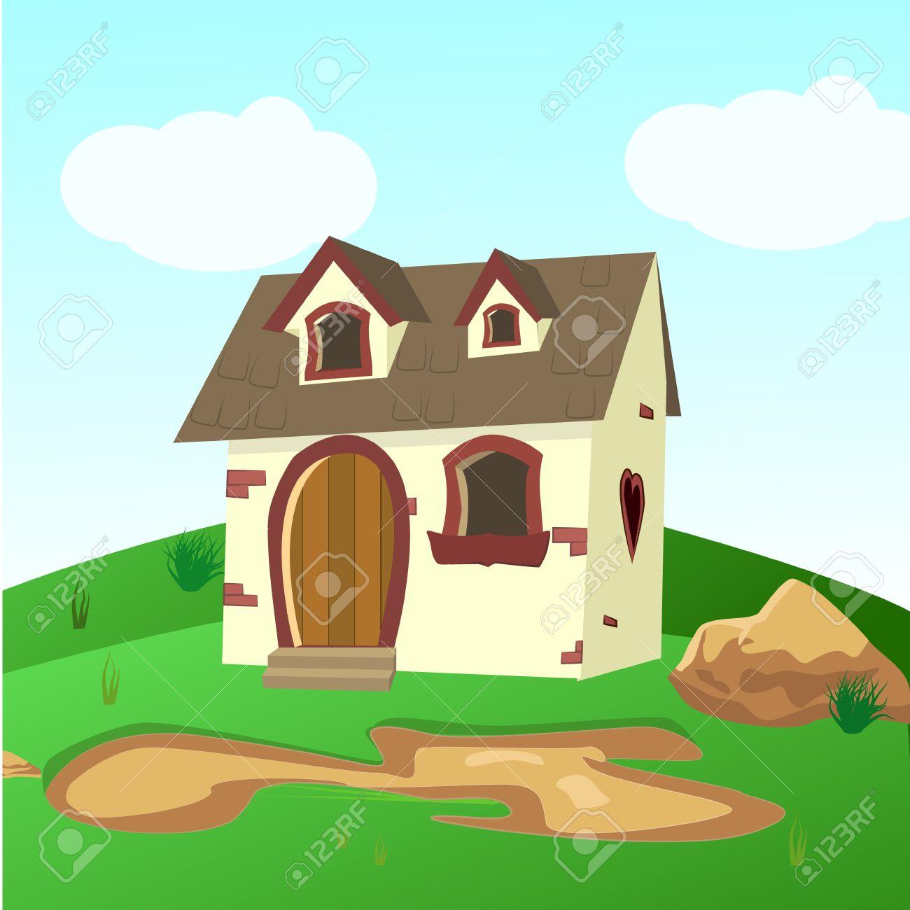 Maison A L Interieur Des Champs Verts Illustration D Une Maison De