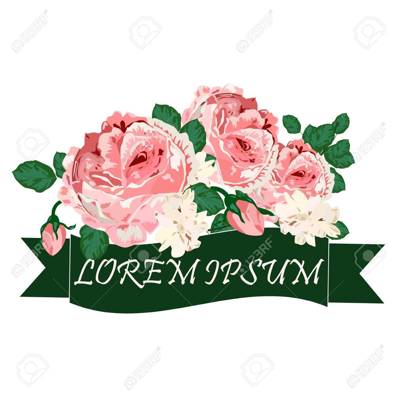 Greeting Vintage Card With Flowers Roses Wild Flower Cornflower