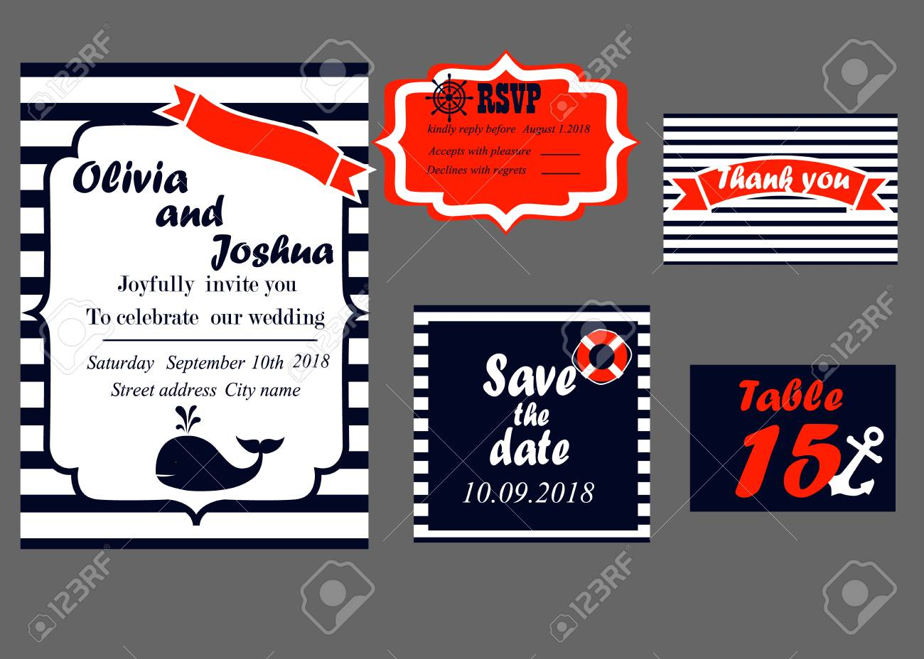 Wedding Invitation Cards Set, Nautical Style, Vector Royalty Free ...