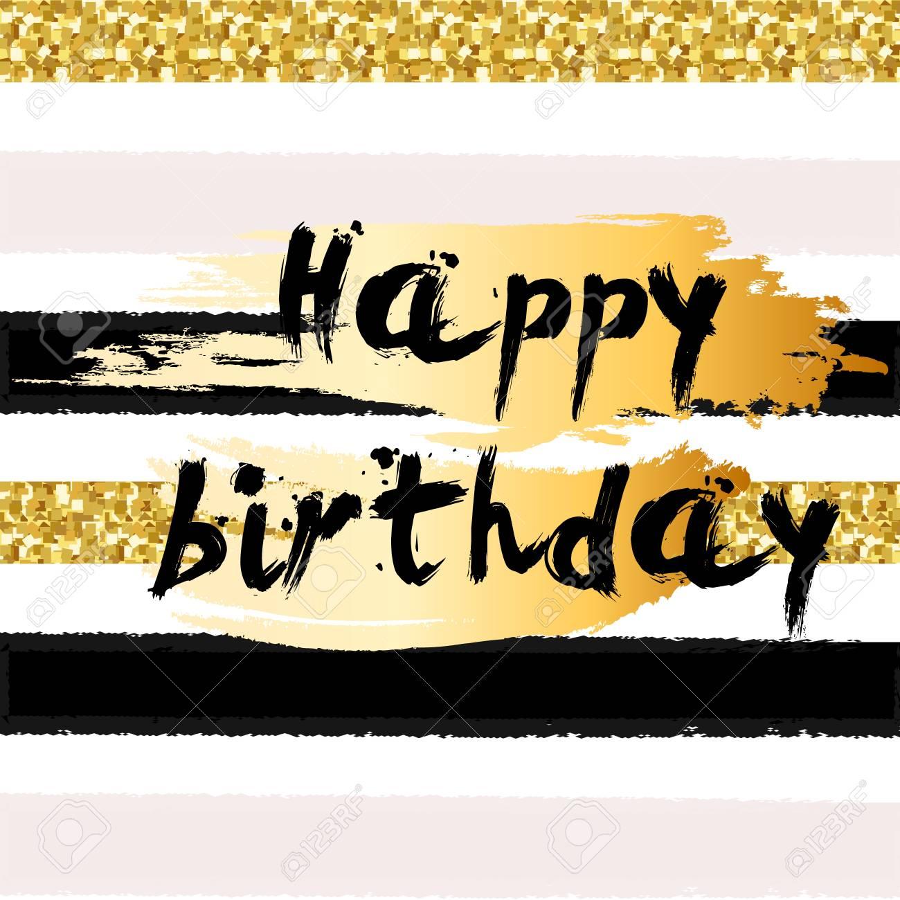 Oro Brilla Fondo Feliz Cumpleaños Logotipo De Felicitación Para Tarjeta Folleto Cartel Signo Bandera Web Postal Invitación Telón De Fondo