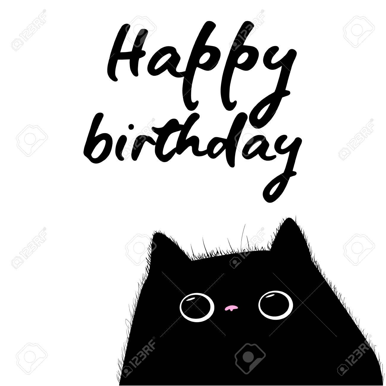 Happy Birthday Card With Black Cat Illustration Vector Stock