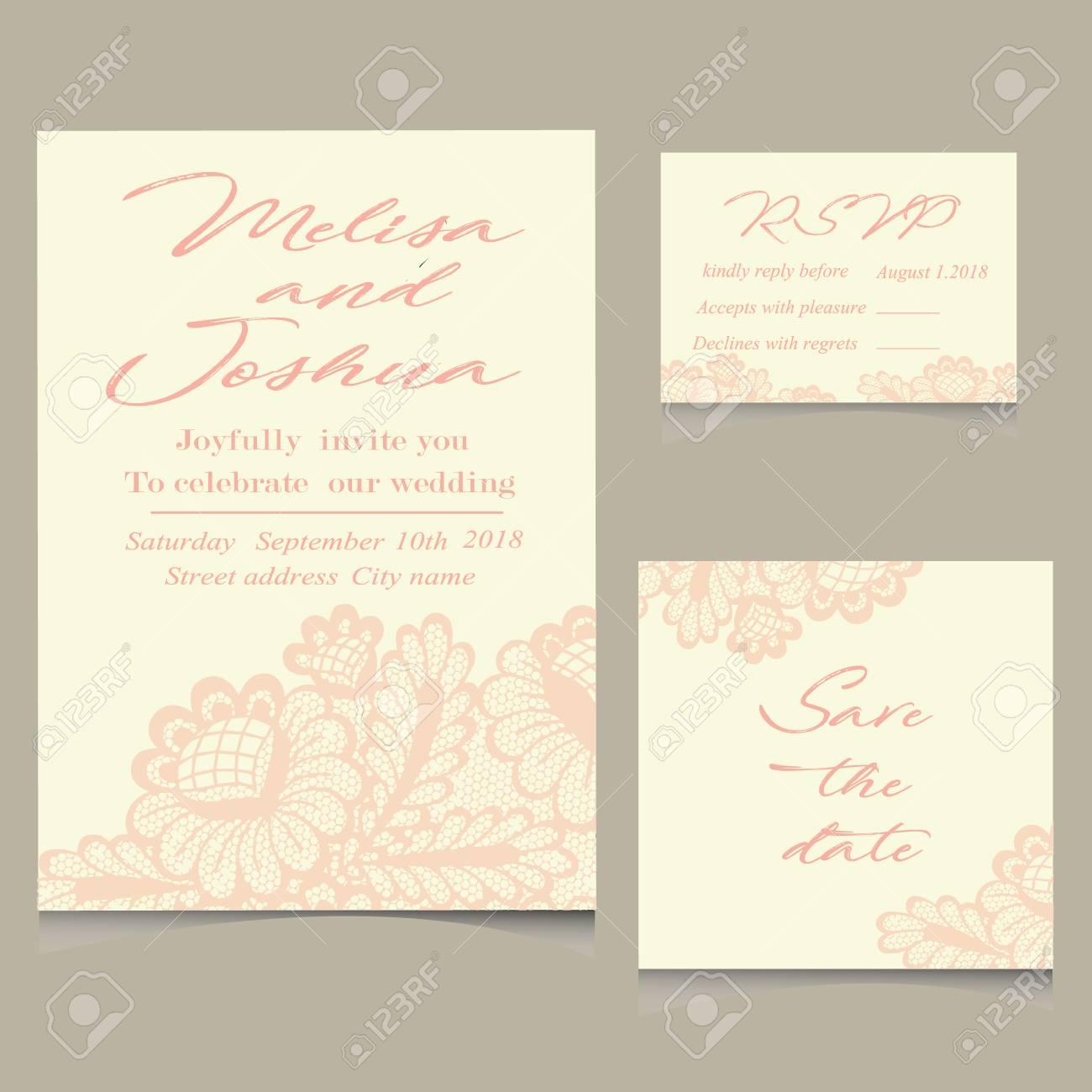 Standard Bild   Vorlagen Der Einladung Spitze Karten Für Hochzeit Vektor