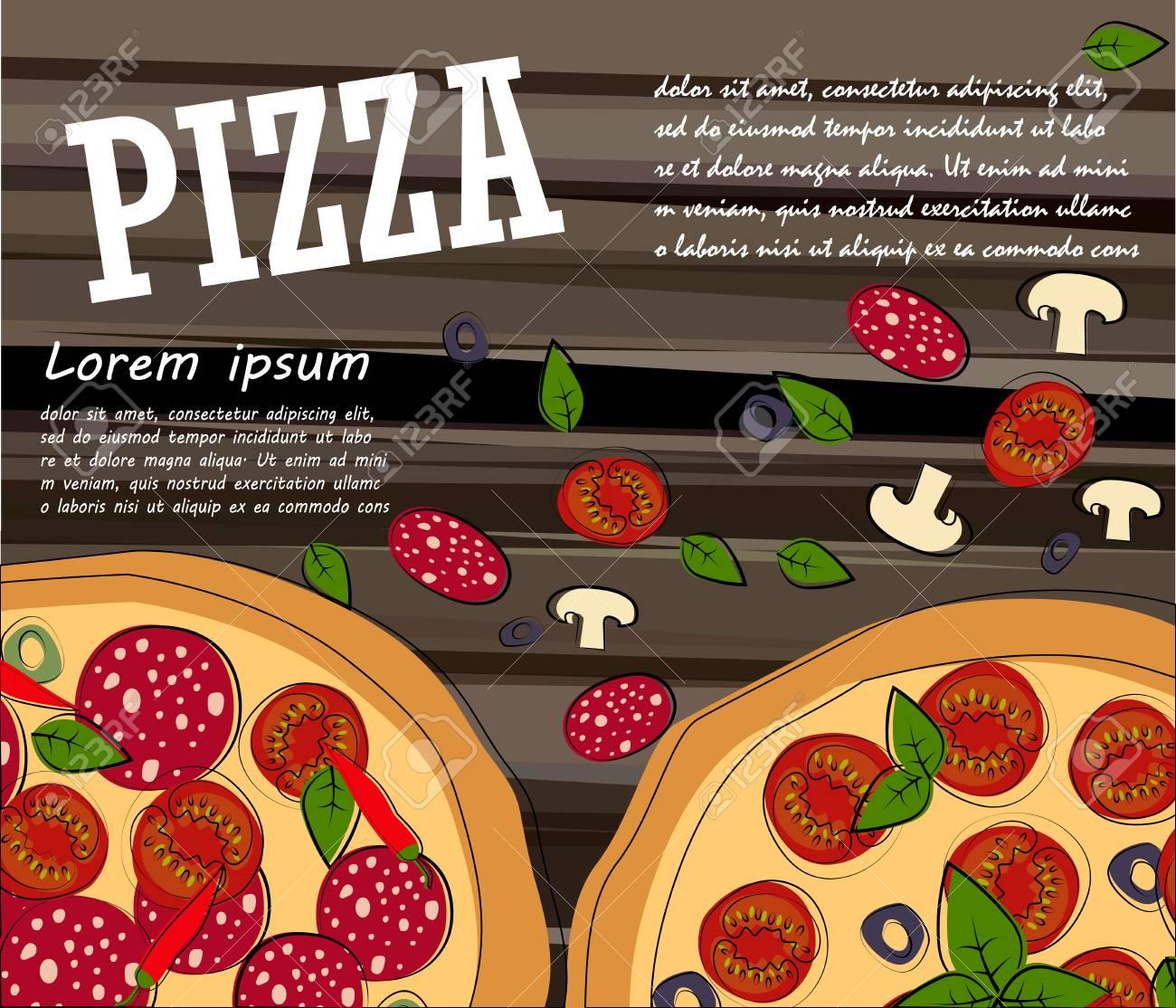 Menú De Comida Pizza Para Restaurante Y Cafetería. Plantilla De ...