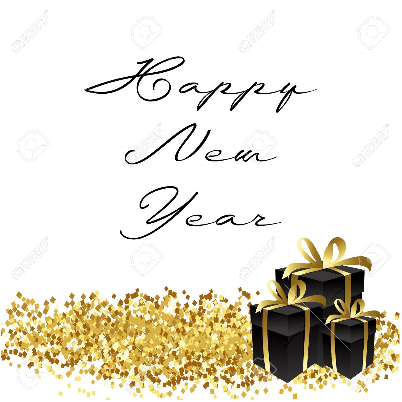 happy new year gold glitter 2018 golden background for flyer poster sign