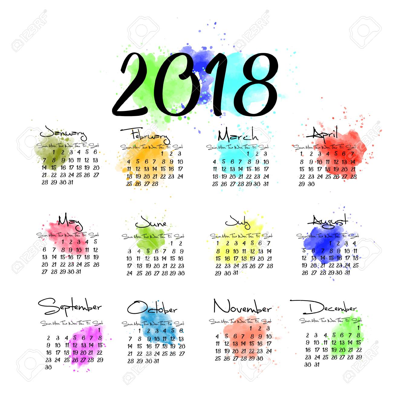 a scalable vector calendar for the year 2018 all on one page each of