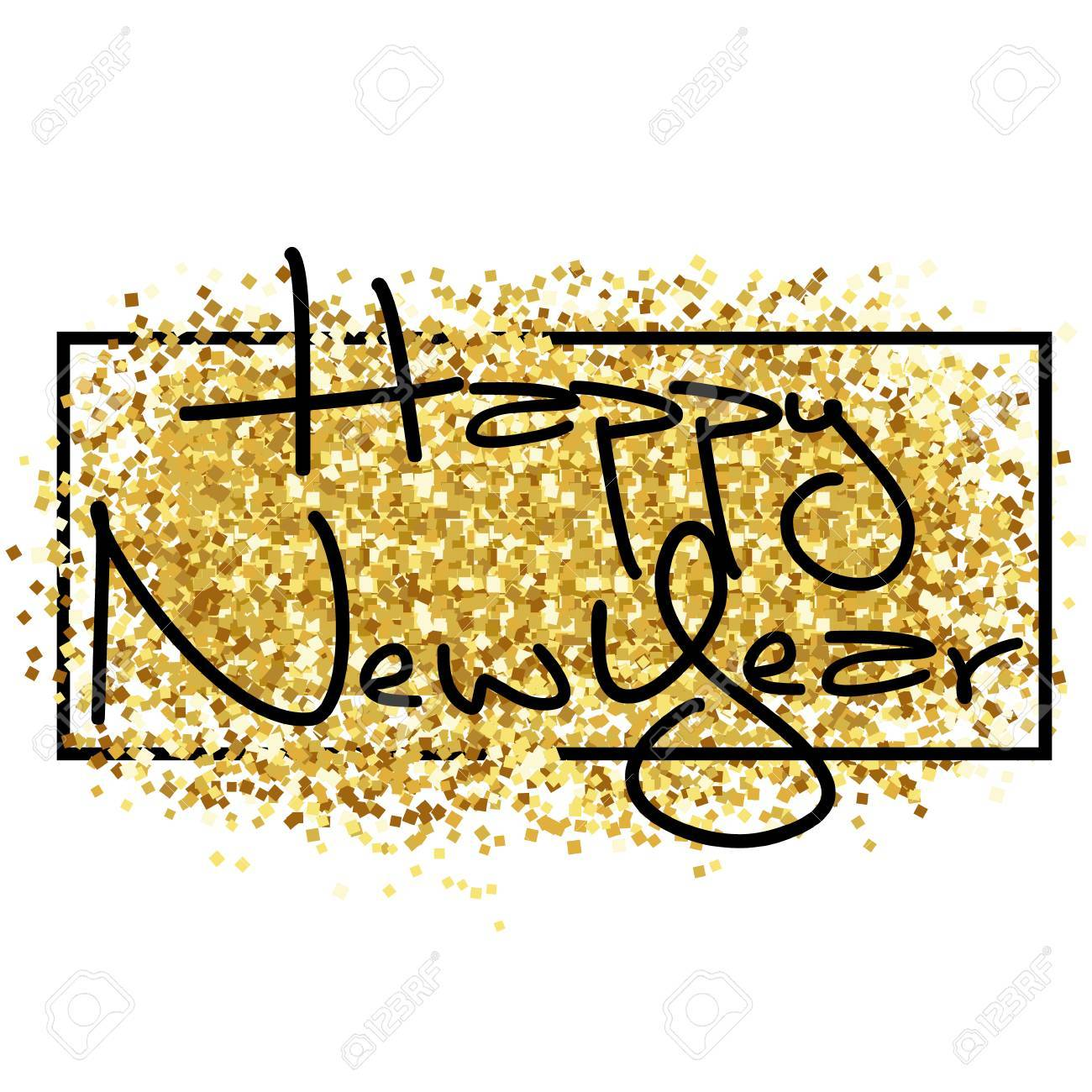 happy new year gold glitter 2018 golden pattern for flyer poster sign