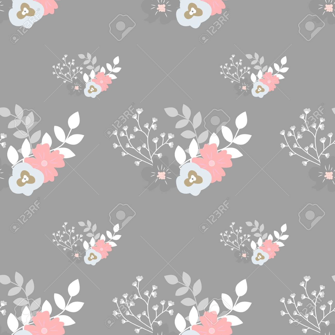 Seamless Floral Background Vector Illustration Pastel Cute Royalty