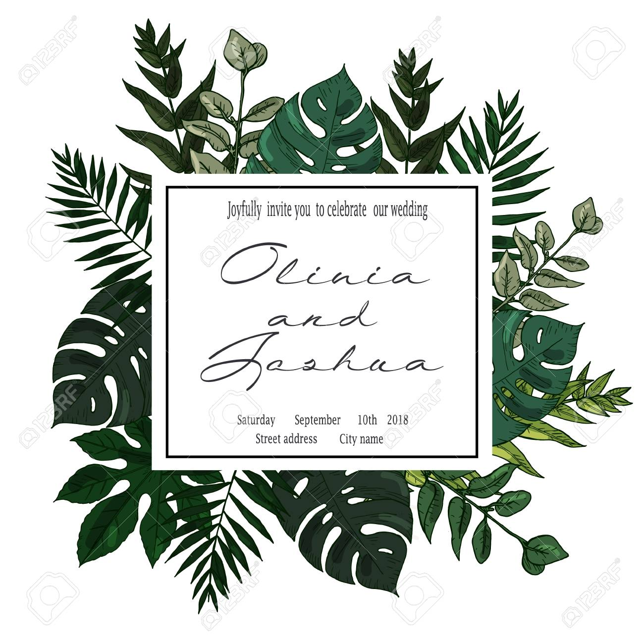Wedding Invitation, Floral Invite Card Design With Green Tropical ...